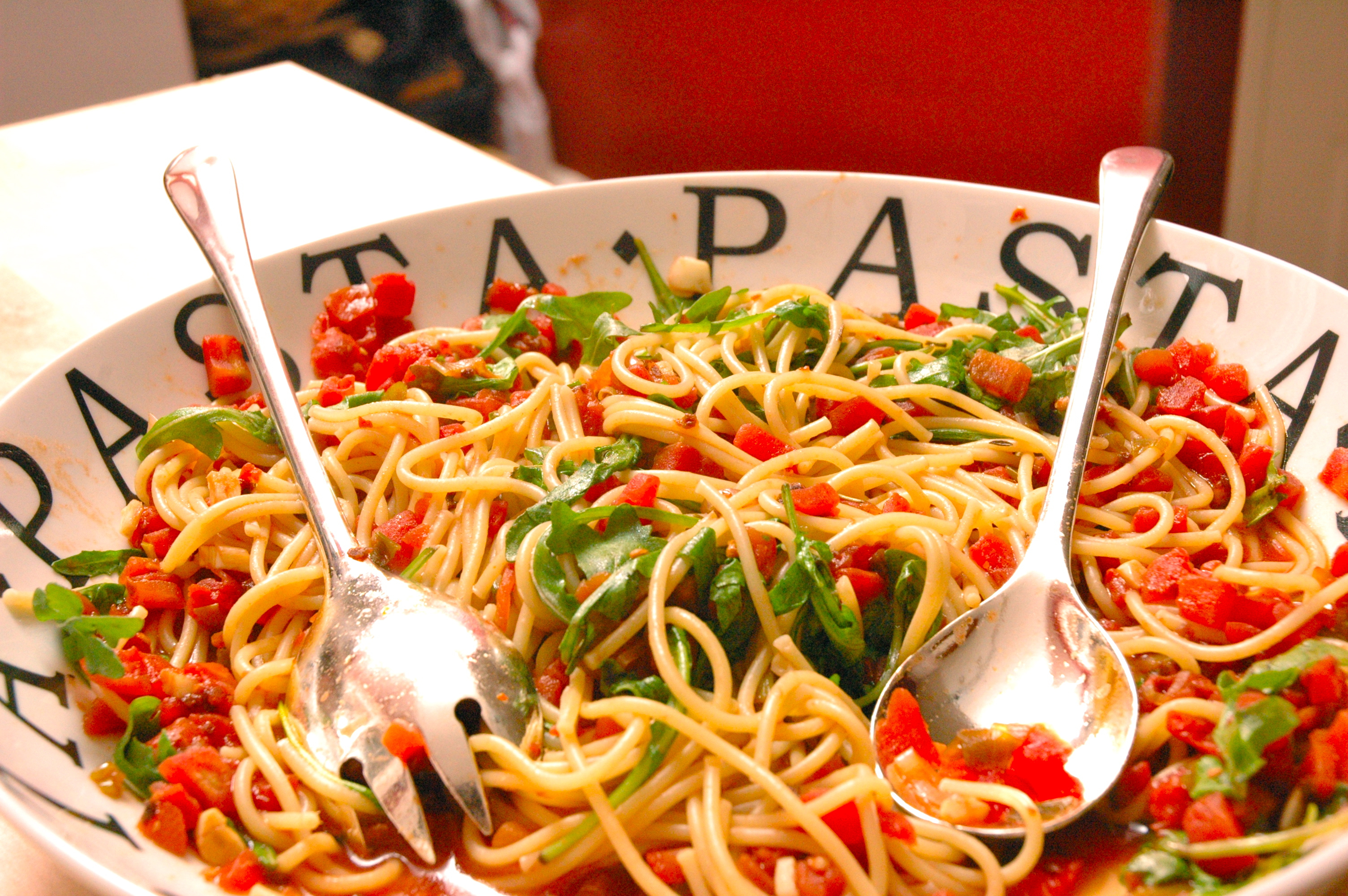 Spaghetti With Tapenade, Tomatoes, Spinach, Arugula, And ...